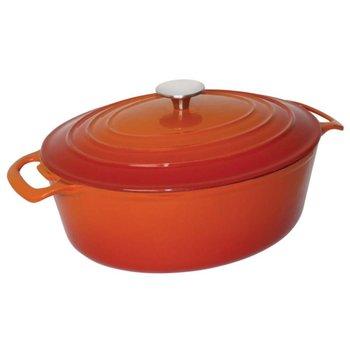 Braadpan gietijzer ovaal - oranje - 4 liter