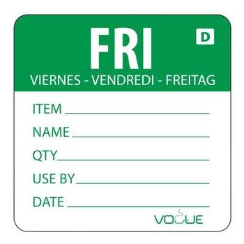 Schrijfbare weekdag sticker - oplosbaar - vrijdag