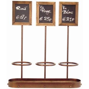 Wijnflessen display met krijtbord - 3x