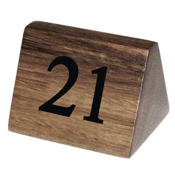 Houten tafelnummer bordje - 21 tot 30