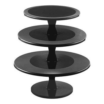 Taartstandaard met draaivoet - 3 etages - zwart