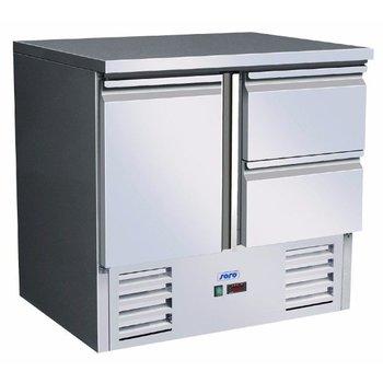Gekoelde werkbank | Vivia S 901 s/s Top 2 x 1/2 | 1 deur en 2 lades | (H)88,5x(B)90x(D)70