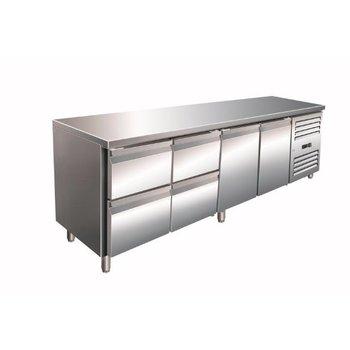 Geventileerde koelwerkbank | Kylja 4140 TN | 2 deurs en 4 lades | (H)89/95x(B)223x(D)70