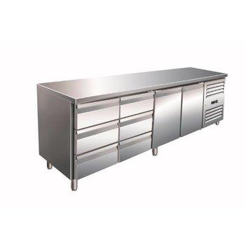 Geventileerde koelwerkbank | Kylja 4150 TN | 2 deurs en 6 lades | (H)89/95x(B)223x(D)70