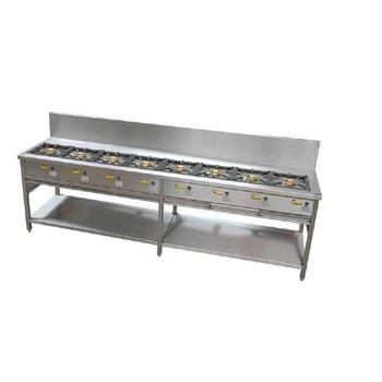 Pannenkoeken kooktafel 10 branders -380cm