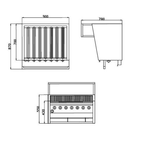 American grill middel - 90x87cm