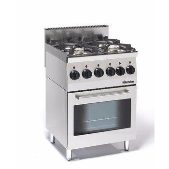 Gasfornuis Bartscher 600 Imbiss - 4 pits - met elektrische oven - propaan