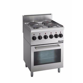 Elektrisch fornuis Bartscher 600 Imbiss - 4 pits - met oven