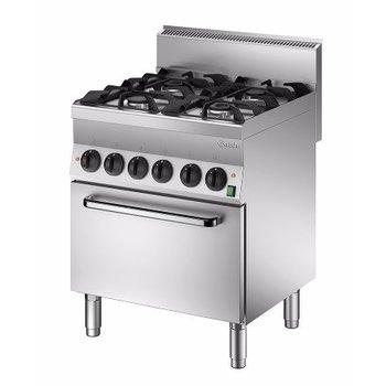 Gasfornuis Bartscher 650 snack - 4 pits - met 1/1GN oven - propaan