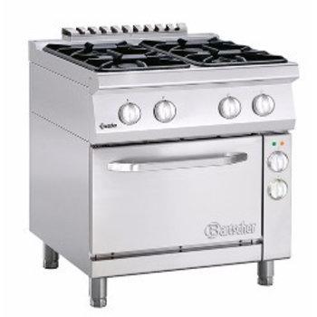 Gasfornuis Bartscher 700 classic - 4 pits - aardgas - met 1/1GN elektrische oven