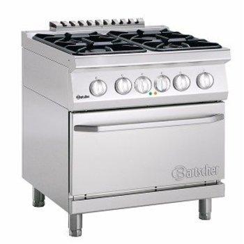 Gasfornuis Bartscher 700 classic - 4 pits - aardgas - met 2/1GN elektrische oven