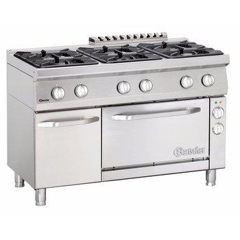 Gasfornuis Bartscher 700 classic - 6 pits - aardgas - met 2/1GN elektrische oven en kast
