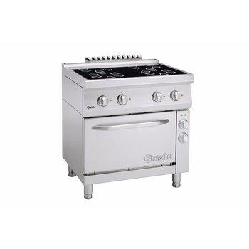 Keramisch fornuis Bartscher 700 classic - 4 zones - met 1/1GN elektrische oven