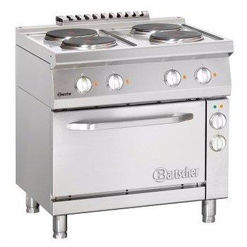 Elektrisch fornuis Bartscher 700 classic - 4 platen - met 1/1GN elektrische oven
