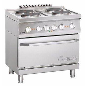 Elektrisch fornuis Bartscher 700 classic - 4 platen - met 2/1GN elektrische oven