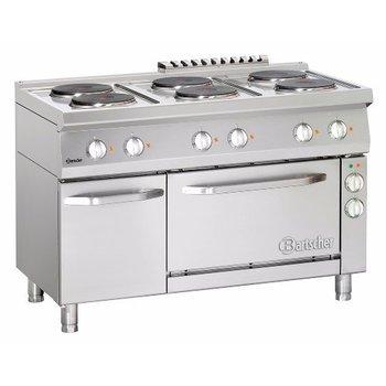 Elektrisch fornuis Bartscher 700 classic - 6 platen - met 1/1GN elektrische oven