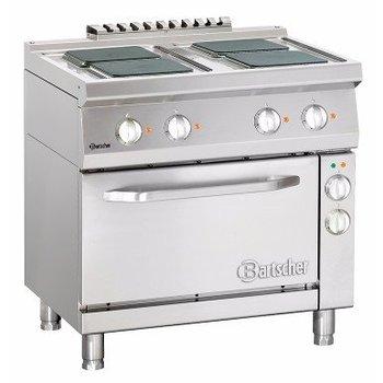 Elektrisch fornuis Bartscher 700 classic - 4 vierkante platen - met 1/1GN elektrische oven