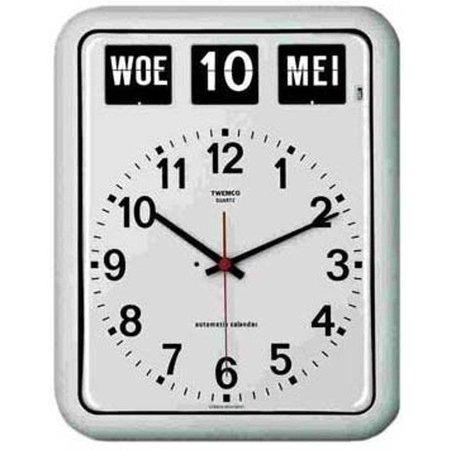 Twemco Twemco BQ-12 Kalenderklok Wandmodel Groot Wit Of Zwart