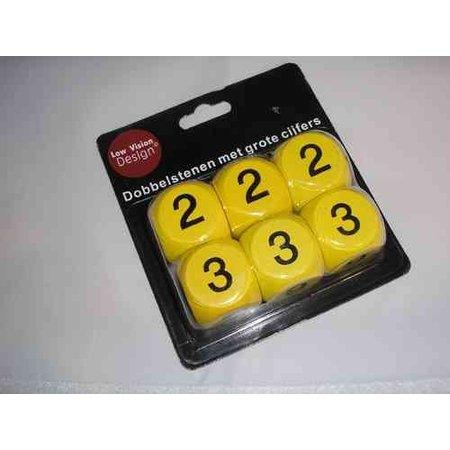 Dobbelsteen XXL geel / zwart ( 6 st )