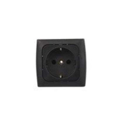 GIMEG stopcontact randaarde inbouw zwart (1 stuk)