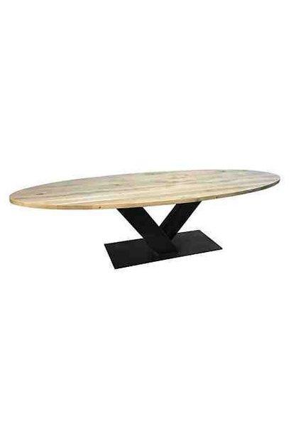 Ovale eiken tafel | V-onderstel | Veghel