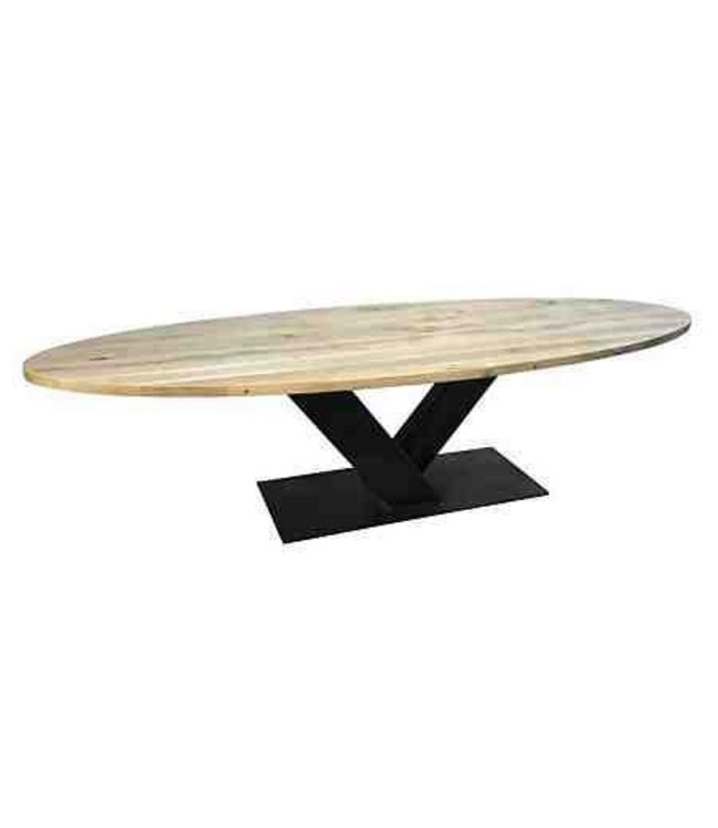 Industriële Ovale tafel   Eiken   V-onderstel   Veghel
