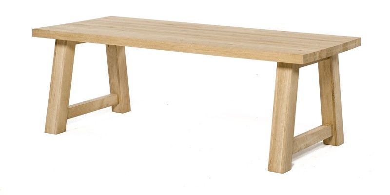Eiken tafels | Rechthoekig | Met stalen, RvS of houten onderstel