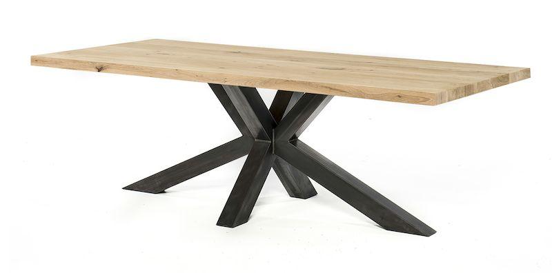 Eiken tafels | stalen onderstel | massief eiken blad