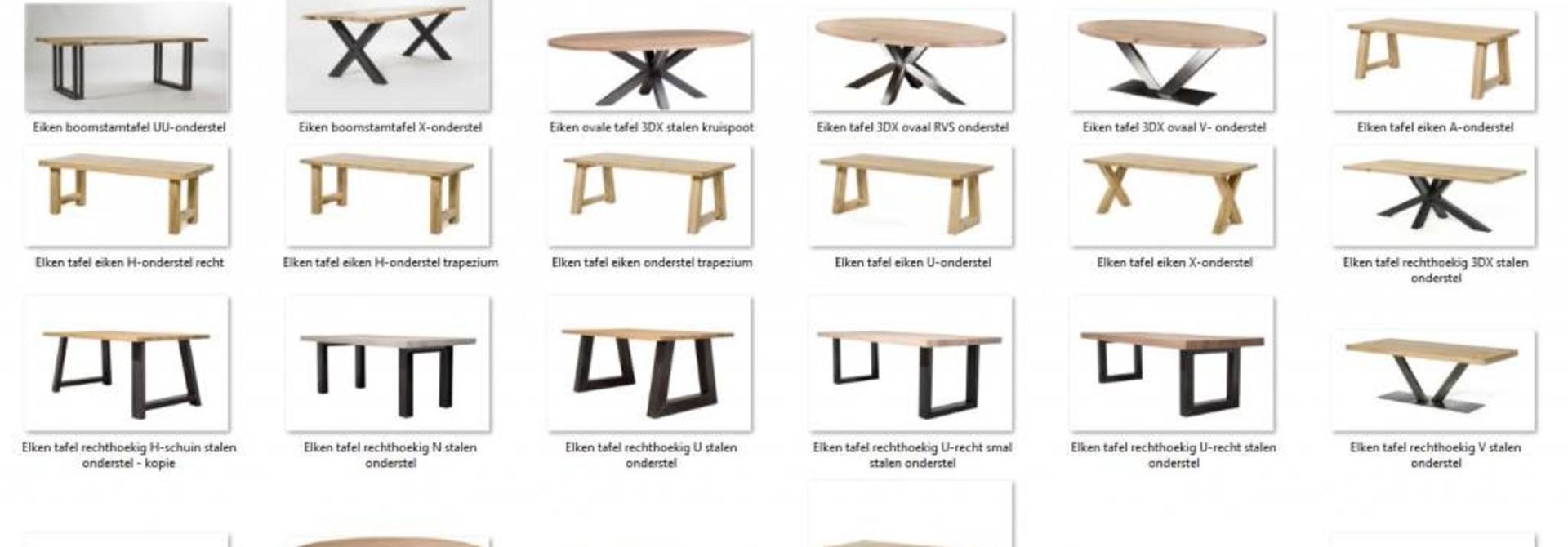 Uw eiken tafel zelf creëren? Stel hier uw tafel samen