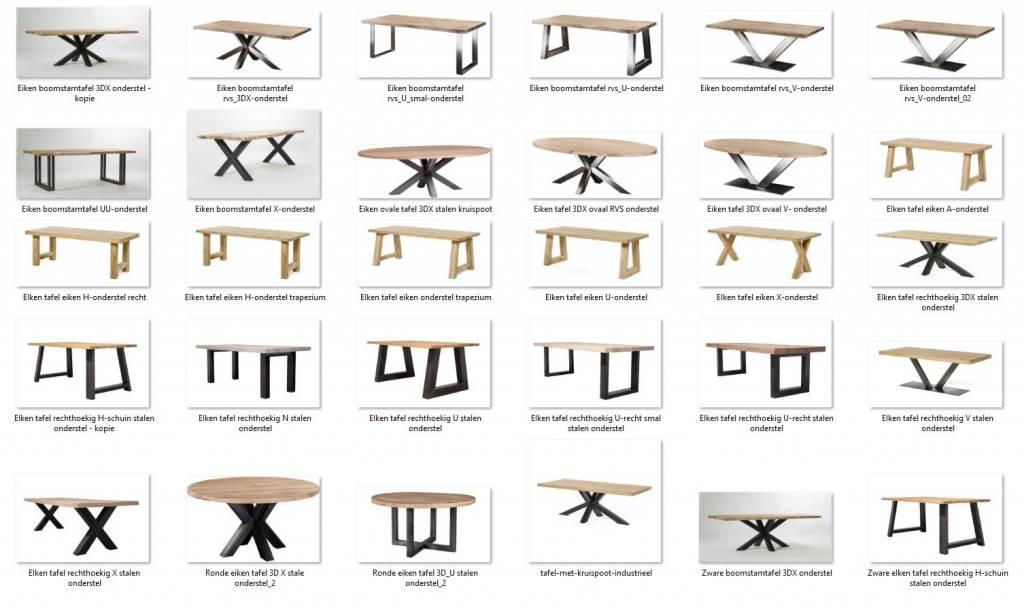 Stel hier zelf uw eigen rechthoekige, ronde, ovale of boomstamtafel samen