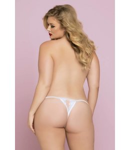 Seven 'til Midnight FLORAL GALLOON LACE CROTCH THONG