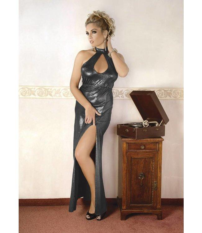 Andalea LONG SILVER SHINY DRESS WITH SLIT