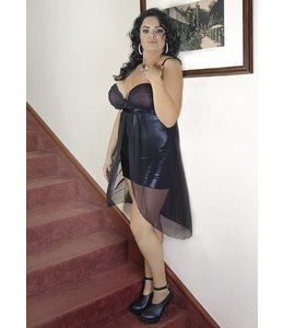 Andalea SEDUCTIVE BLACK CHEMISE WITH A TRANSPARENT BLACK KNIT ON THE CHEST