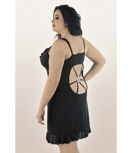Andalea BLACK, BEAUTIFUL, VERY GIRLY CHEMISE ADORNED WITH DELICATE FRILLS