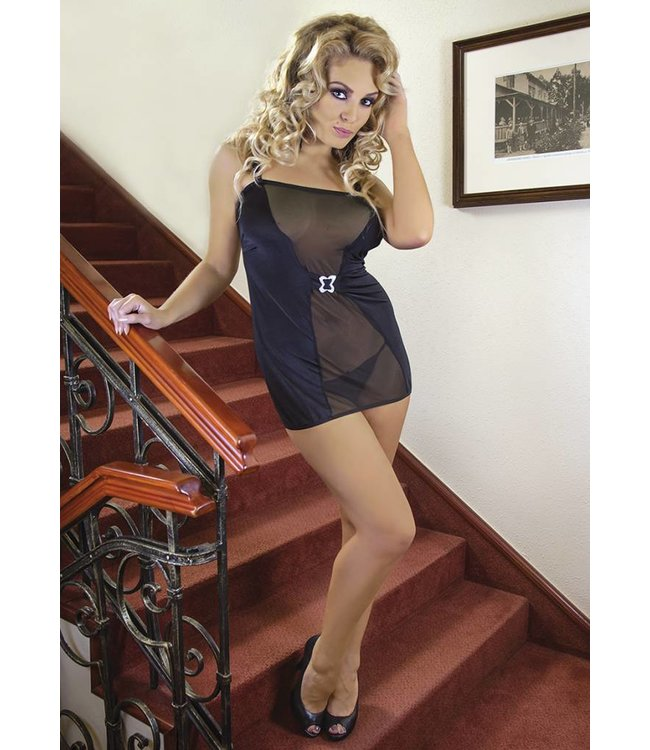 Andalea A black set consisting of a black chemise and tanga briefs