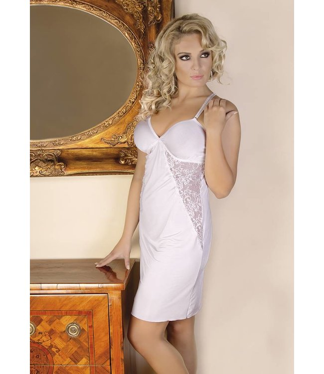 Andalea Light, écru chemise with triangular inserts of lace