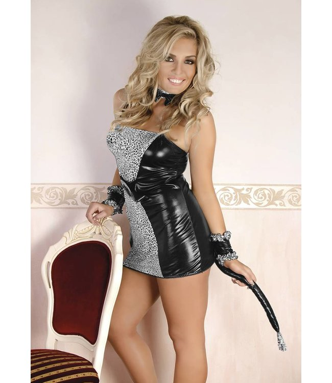 Andalea THREE-PIECE GREY CAT-WOMAN SET CONSISTING OF A SHIRT WITH SEWN TAIL, PLAYFUL AND SENSUAL GLOVES