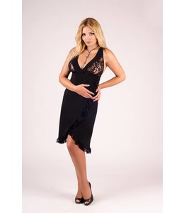 Andalea LONG BLACK CHEMISE WITH DELICATE LACE