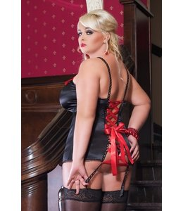 Andalea A SET: BLACK CHEMISE WITH LONG LACING AND STRAP CLIPS AND TANGA PANTIES