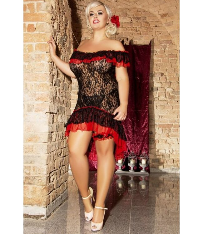 Andalea FIERY SET: BLACK AND RED CHEMISE, A GARTER AND THONG