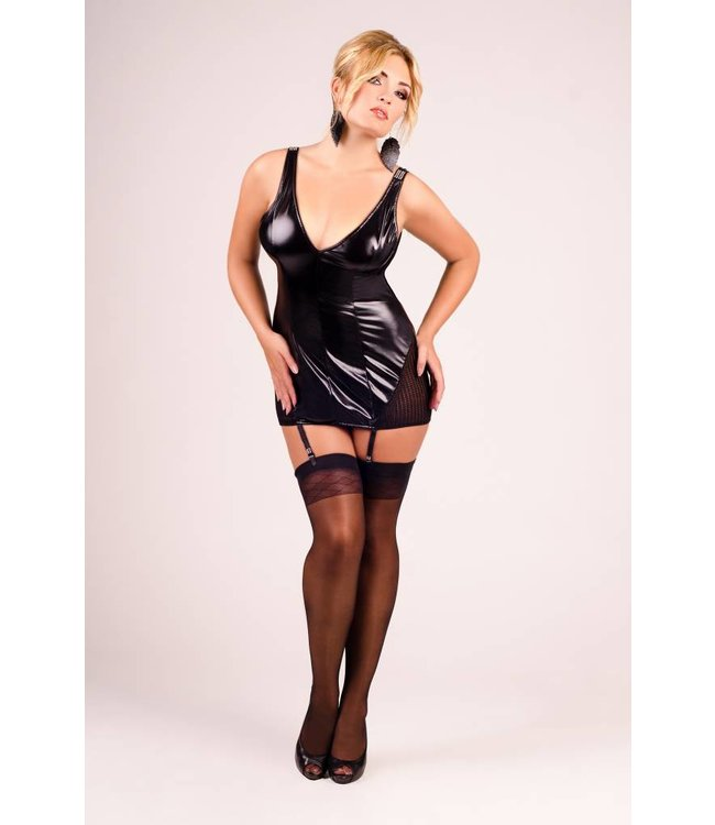 Andalea Wet look chemise with garter clips