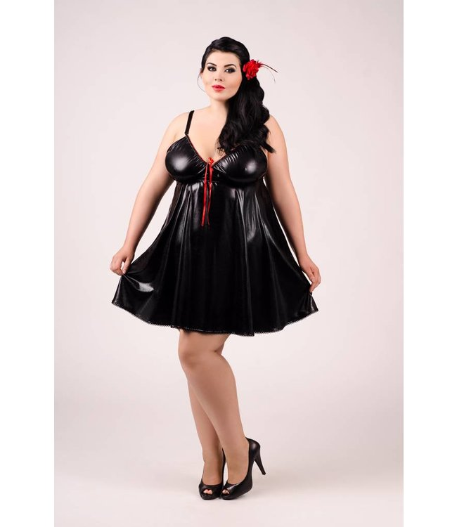 Andalea WET LOOK CHEMISE WITH OPEN BACK AND RED LACING