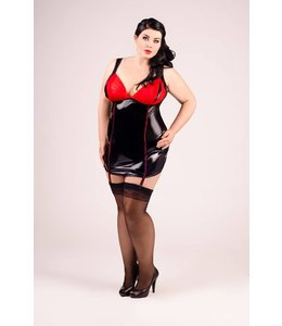 Andalea WET LOOK CHEMISE WITH RED AND STRAP CLIPS.