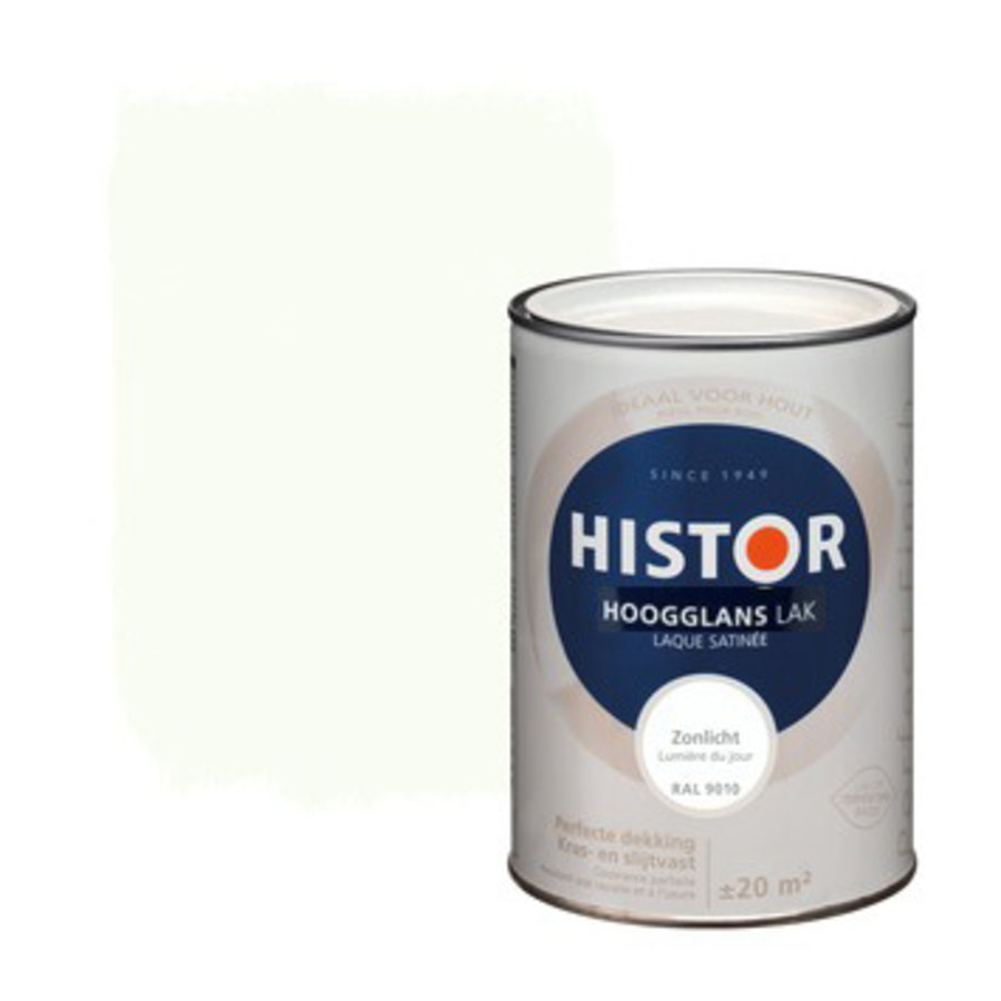 Histor Perfect Finish Lak Hoogglans 1,25ltr Zonlicht (RAL 9010)-1
