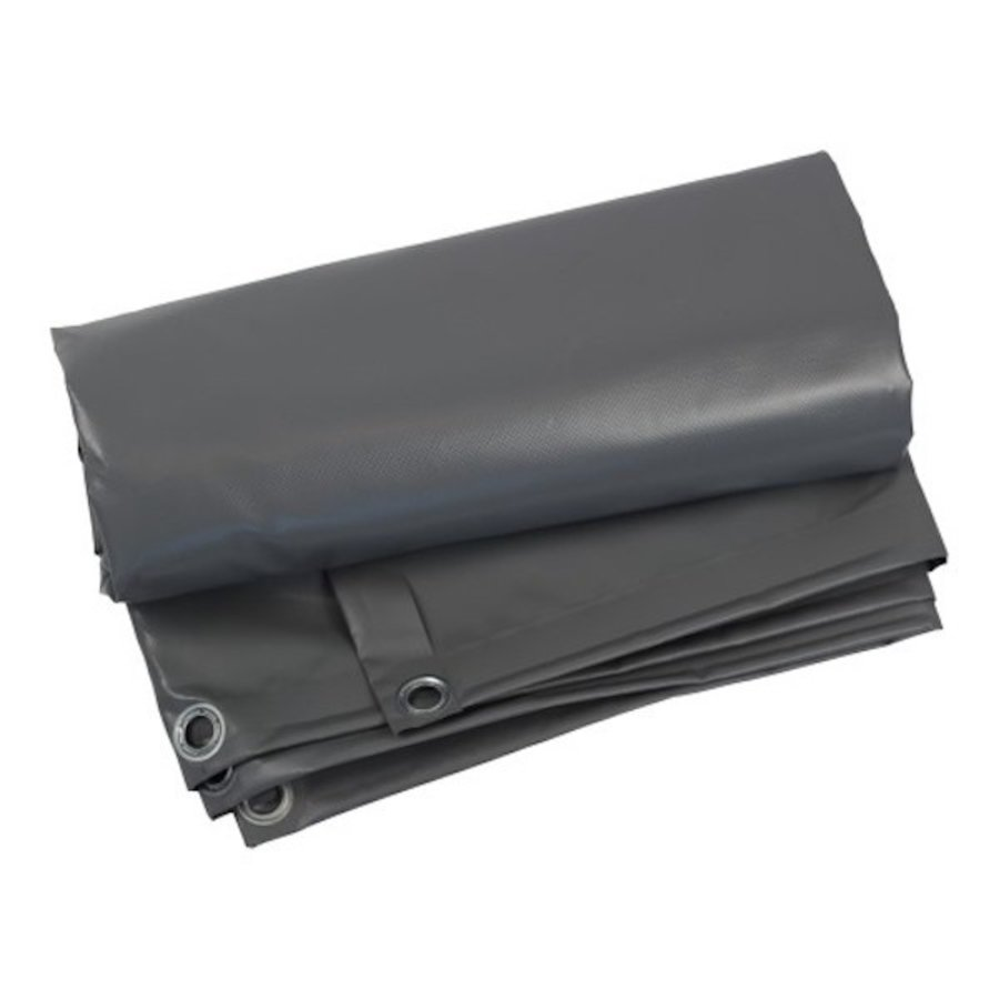 Dekzeil 6x10 PVC 600 ringen 100cm - Grijs