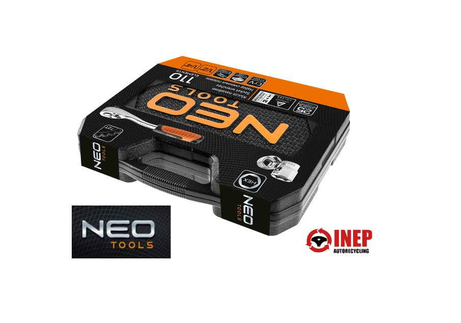 Neo Tools NEO-TOOLS-Knarren-Werkzeug-Set-Sechskant-110-Teilig-1-4-1-2-CrV-Stahl