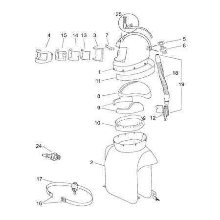 RPB Respiratory Flowregelaar met riem voor straalhelm Nova