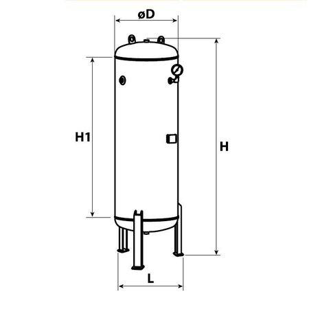 COMPRAG PERSLUCHTKETEL-RV500 GRIJS - 500 LITER/10 BAR