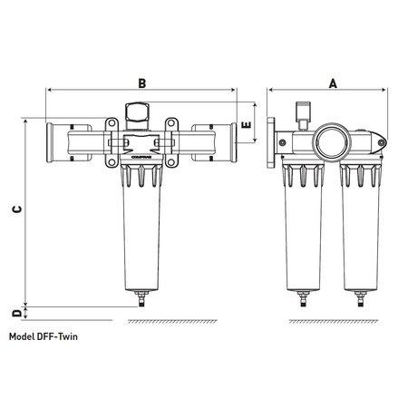 """COMPRAG Persluchtfilter DFF-360-Twin   36,0 m³/min.     3"""""""