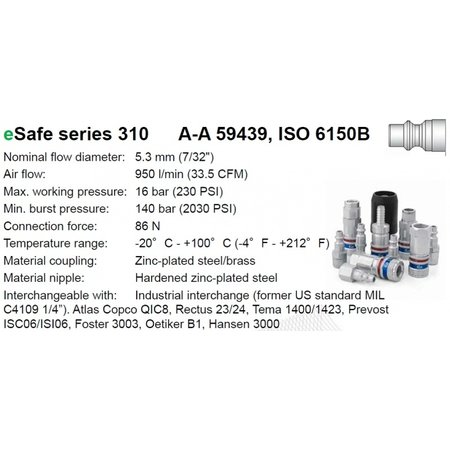 CEJN Veiligheidskoppeling 310 eSafe | ISO 6150 B06 | Slangpilaar